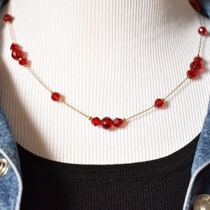 Jewelry - Vintage Cherry Red Beaded Necklace Earrings Set